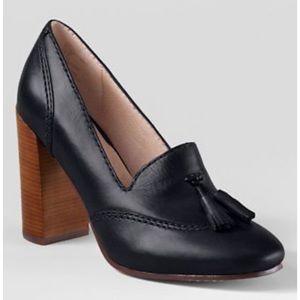 Land's End Stowe Black Leather Tassel Loafer Heel